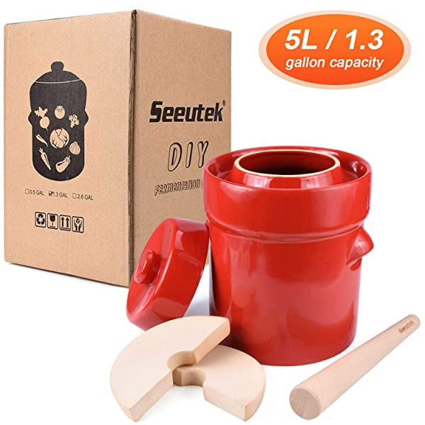 Fermenting Pickling Sauerkraut Crock//Pot Ceramic w//Airtight Lid /& Stone Weights