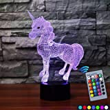 Carryfly Unicorn Night Light Kids Night Light optical illusion 7 Colors Change with Remote Birthday Gifts for Baby Amazing Light (Unicorn) (Color: Unicorn)