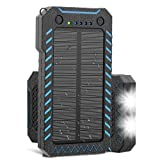 Solar Charger, X-DRAGON 15000mAh Power Bank Portable Dustproof Shockproof Dual USB Solar Panel Battery Charger with Dual Super Bright LED Light for iPhone, Samsung Galaxy and More -Blue