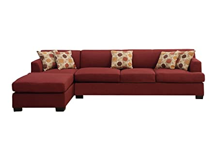 Poundex Bobkona Hudson Blended Linen 2-Piece 4-Seat Reversible Sectional Sofa, Dark Red