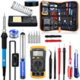 Soldering Iron Kit with ON/OFF Switch, Rarlight 60W 110V Adjustable Temperature Welding Tool with Digital Multimeter,Soldering Tips,Desoldering Pump,Solder Wire,Tweezers,Stand,Wire Stripper Cutter (Color: Mode2, Tamaño: Blue+Orange)