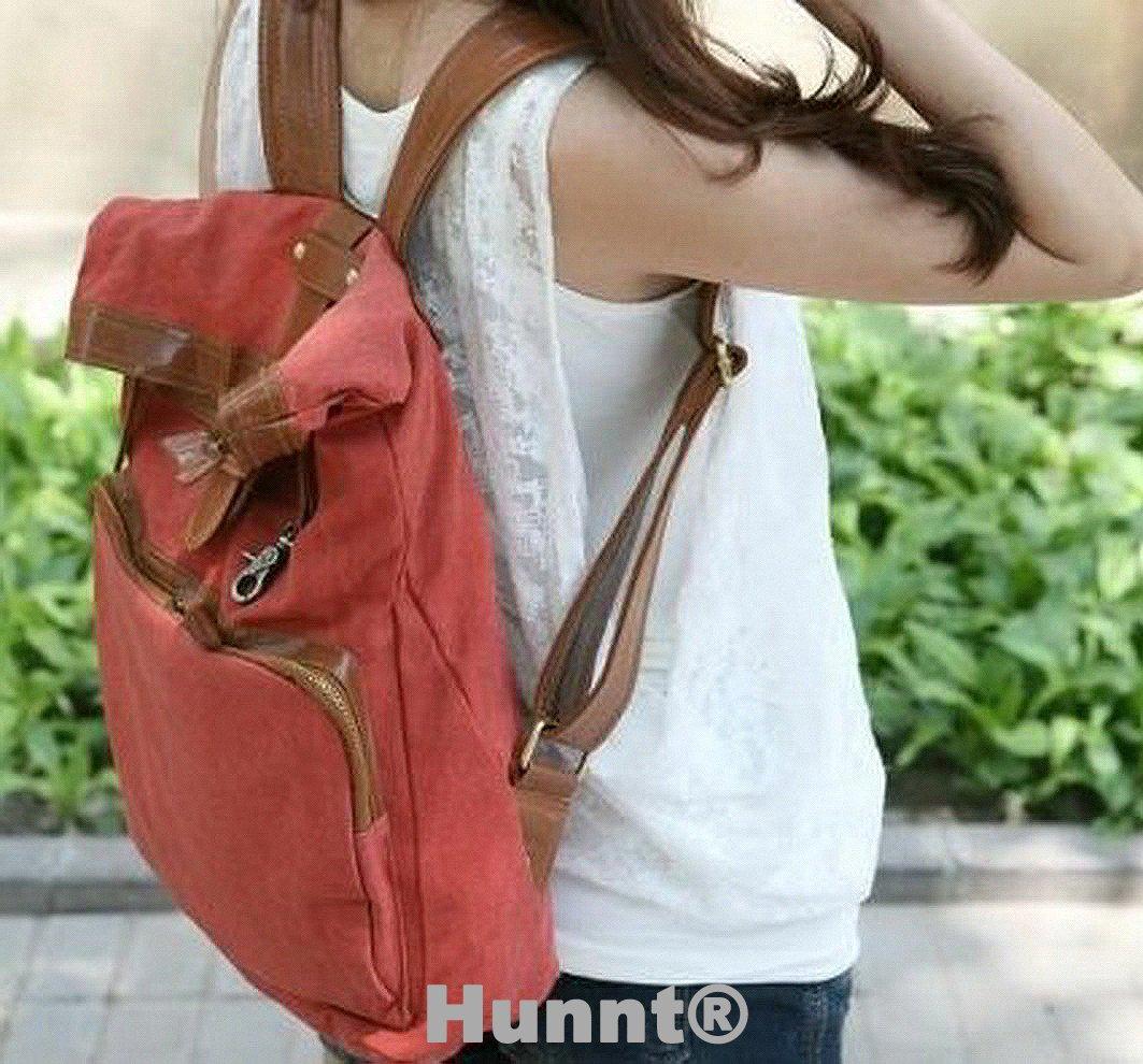 irls Vintage Red Canvas Cute Rucksack Satchel Travel Schoolbag Backpack