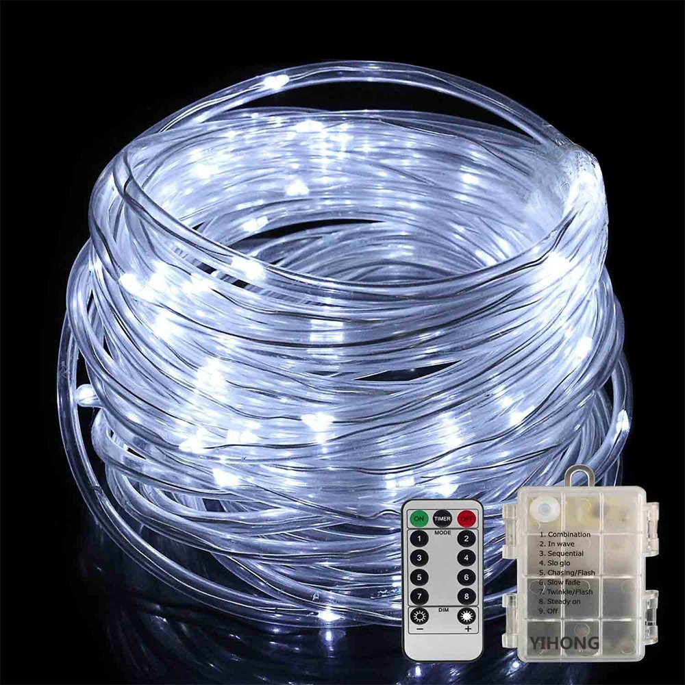LED Rope Lights Battery Operated Waterproof 33 Feet String Lights with Remote Timer YIHONG Firefly lights 8 Mode Dimmable LED Fairy Lights For Outdoor Indoor Home Decoration Cool White