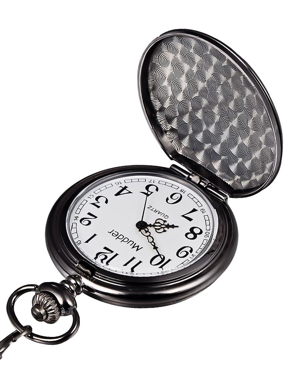 Mudder Classic Smooth Vintage Black Steel Mens Pocket Watch 2