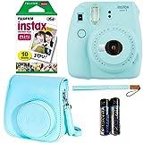 Fujifilm Instax Mini 9 - Ice Blue Instant Camera, 10 Prints Fujifilm instax Instant Mini Film, Fujifilm Instax Groovy Camera Case - Blue (Color: Ice Blue Kit, Tamaño: 10 Prints)