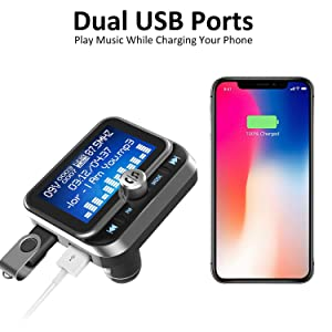 FM Transmitter Bluetooth Car, LeeQin 1.8� Disply Bluetooth FM Transmitter Wireless Audio Transmitter Adapter Car Kit With 2 USB Ports, TF Card S