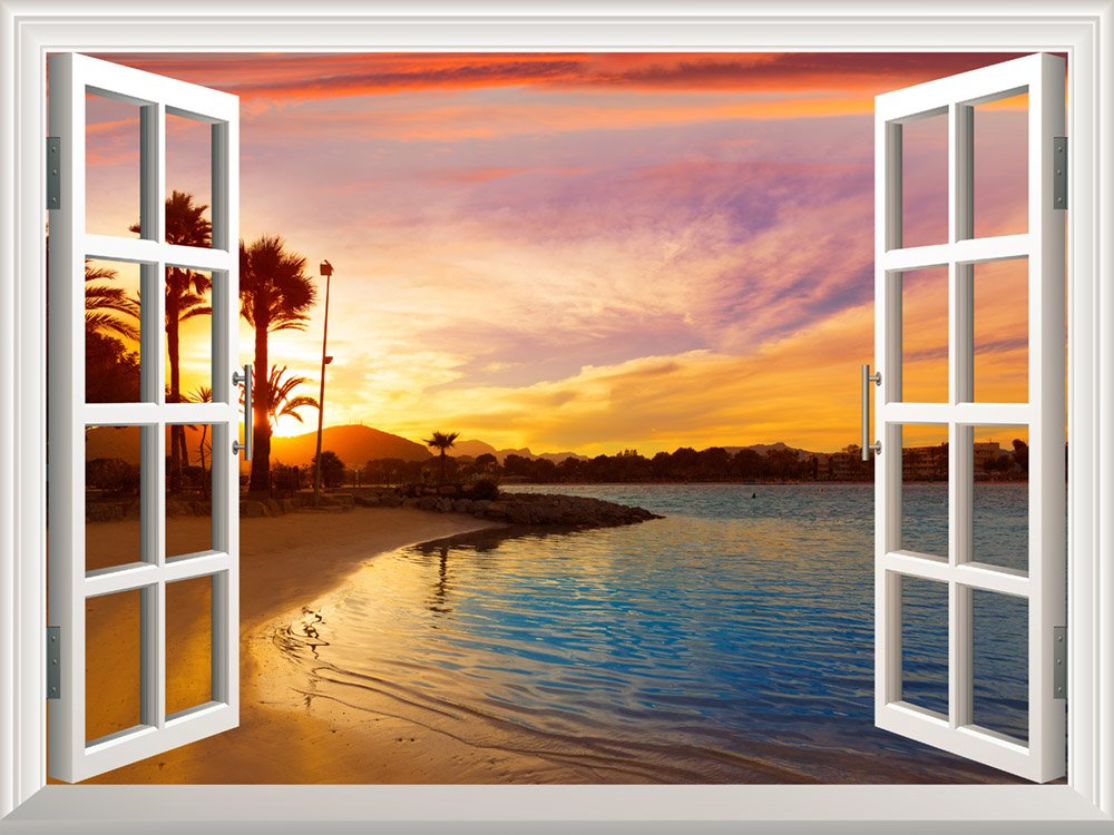 Wall mural tropical beach view at sunset window view for Cheap wall mural posters