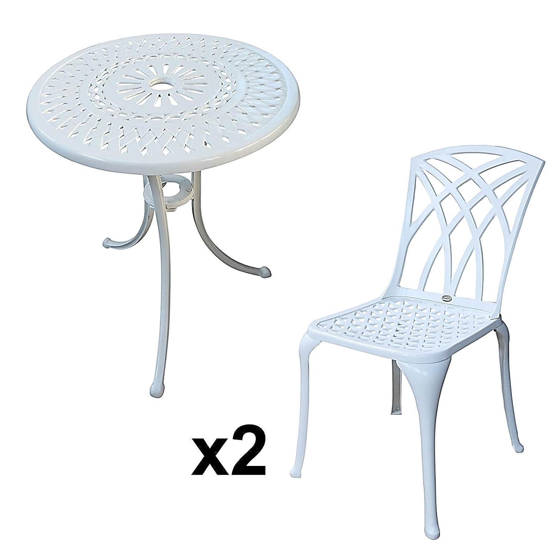 Weißer Eve 60cm Bistrotisch – 1 Weißer Eve Tisch + 2 Weiße MAY Stühle günstig online kaufen