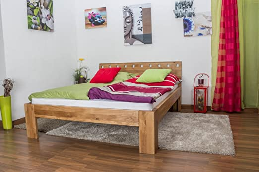 Double Bed Wooden Nature 82, solid wild oak, oiled - 160 x 200 cm