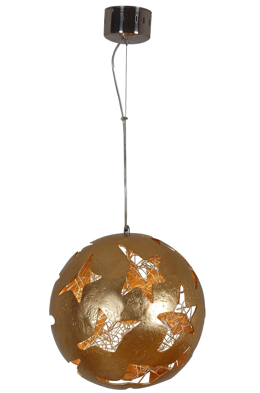 Naeve Leuchten Deko-Pendelleuchte / exklusiv Leuchtmittel / d: 50 cm / h: 120 cm / glasfaserverstärkter Kunststoff / gold 6021958