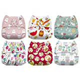 Mama Koala One Size Baby Washable Reusable Pocket Cloth Diapers, 6 Pack with 6 One Size Microfiber Inserts (Happy Birthday) (Color: Happy Birthday, Tamaño: One Size)