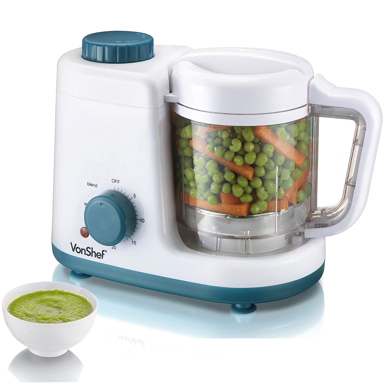 VonShef Baby Food Maker Combined 2-in-1 Baby Food Steamer and Blender