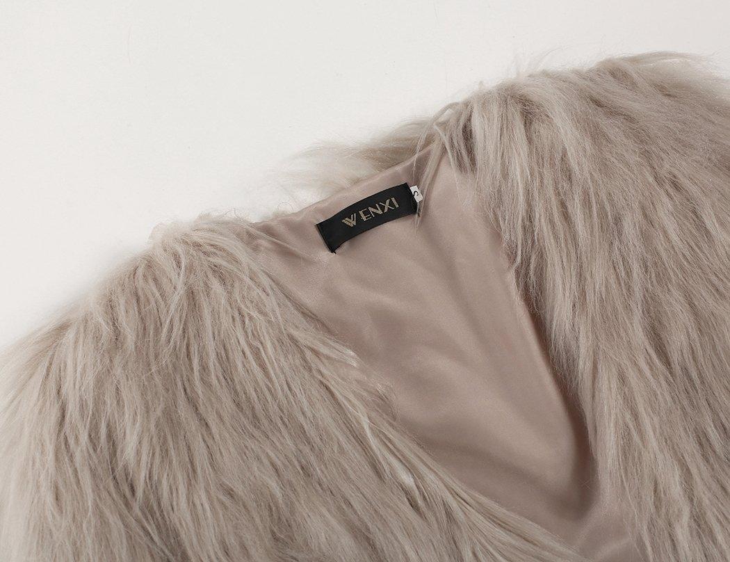 Naggoo Women's Fluffy Faux Fur Coat Winter Long Sleeve Warm Outerwear 2