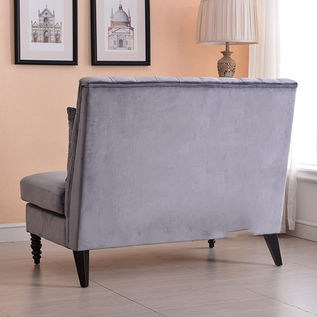 Velvet Modern Tufted Settee Bench Bedroom Sofa High Back Love Seat Grey