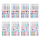 PandaHall Elite 8 Sheets Self-Adhesive Rhinestone Sticker Jewel Crystal Gem Stickers 2 Styles for DIY Nail Art, Face, Makeup, Mobile Phone Decoration, Carnival, Crafts, Scrapbooking Embellishments (Color: Mixed Colors-8 Sheets, Tamaño: Width 3~12mm)