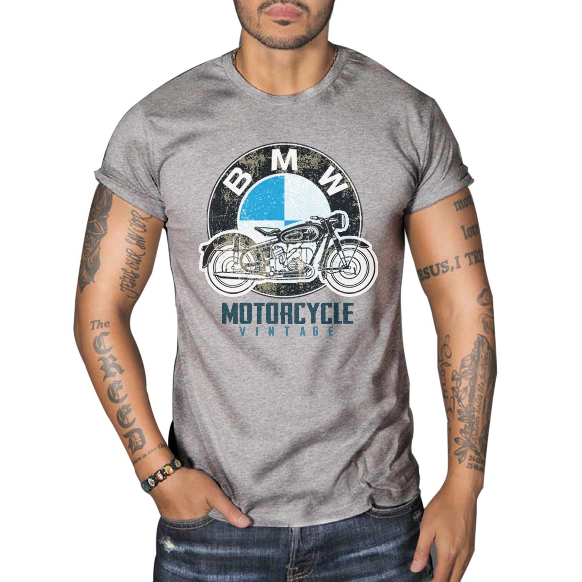 BMW R50 Vintage MOTORCYCLE BIKER Mens Top Dry Grey T-Shirt 0