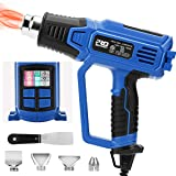 Heat Gun Variable Temperature, PROSTORMER 1500W Hot Air Shrink Gun with Adjustable 12 Heat Levels, 2-Speed Air Flow and 4 Nozzle Attachments for Shrink Wrapping, Soldering, Paint Removal, Tube Bending