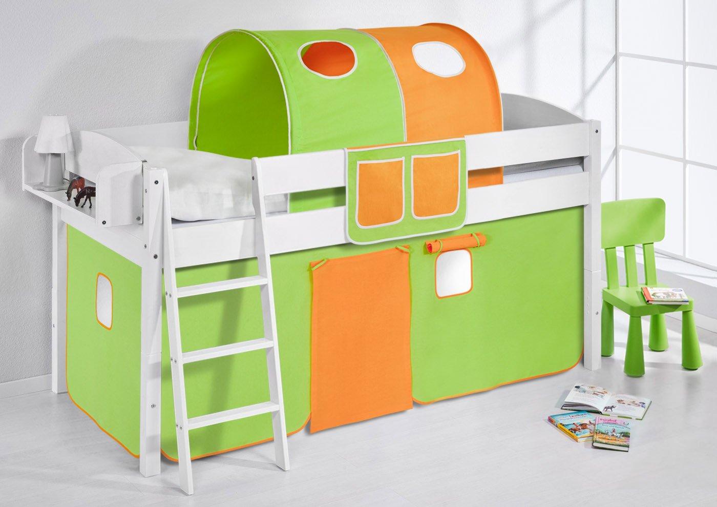 Spielbett IDA 4105 Grün Orange Lilokids Teilbares Systemhochbett LILOKIDS weiß mit Vorhang Orange-Grün Weiß kiefer günstig online kaufen