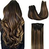 Googoo Human Hair Extensions Clip in Ombre Black to Light Brown Balayage Clip in Hair Extensions Remy Human Hair Double Weft Hair Extensions 7 Pieces 120g 18inch (Color: Ombre Black mixed Brown #1B/6/1B, Tamaño: 18inch)