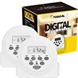 TOGOAL Dual Sided Outlets Digital Light Timer Plug with Countdown and Anti-theft Random Option,7 Day/24 Hour Programmable,2 Pack (15A, 1800W) (Color: white)