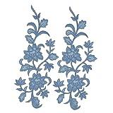 2pcs Blue Flowers Iron On Patches Garment Applique Embroidery DIY Accessory Cheongsam Skirt Clothes (Blue A) (Color: Blue A)