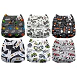 Mama Koala One Size Baby Washable Reusable Pocket Cloth Diapers, 6 Pack with 6 One Size Microfiber Inserts (Racing Car) (Color: Racing Car, Tamaño: One Size)