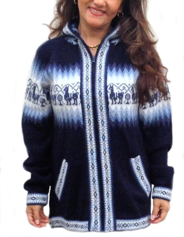 Alpacaandmore Unisex blaue Kapuzen Strickjacke Alpaka Design Alpakawolle günstig