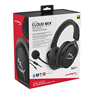HyperX Cloud Mix Gaming Headset Wireless Bluetooth + Wired Option - Game and Go - Detachable Microphone - Signature Comfort - Lightweight - Multi Platform Compatible (HX-HSCAM-GM)