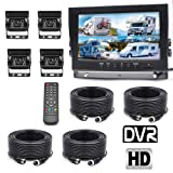 Padarsey Backup Camera System, 4 Split Screen 9'' Quad View Display HD Monitor with DVR Recording Function, Waterproof Night Vision Cameras x 4 for Truck Trailer Heavy Box Truck RV Camper Bus (Color: 9