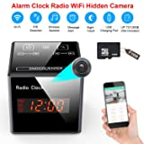 Hidden Camera Clock - Spy Cameras Alarm Clock Radio WiFi - Nanny Cams Wireless with Cell Phone App - HD 960 FM Bluetooth Speaker USB Charging Night Vision & Motion Detection 128gb Storage 16GB SD (Color: silver-01, Tamaño: 1)