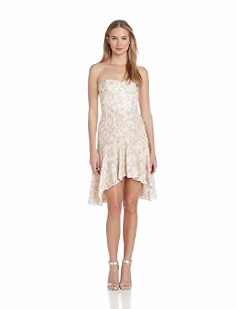 BCBGMAXAZRIA Women's Bryleigh Strapless Sequin Lace Dress, White Combo, 0
