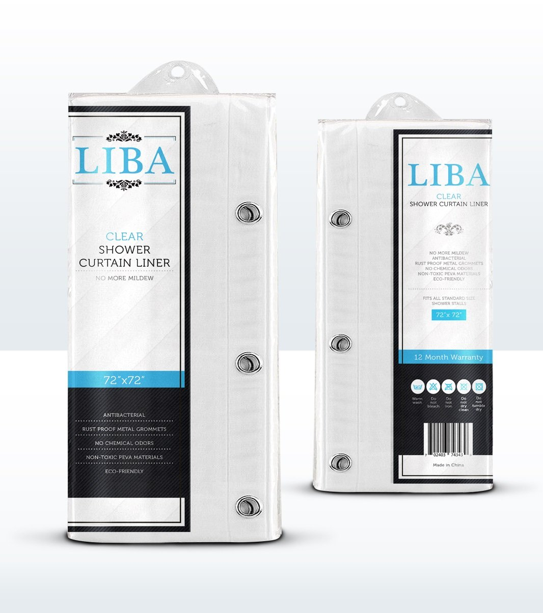 LiBa Mildew Resistant PEVA Shower Curtain Liner, 72x72-Inch, Clear