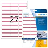 Herma 4512 Removable (63 x 29, 6 mm, Textile 540 Pieces in Name Labels 20 Sheets DIN A4, White/Red