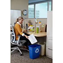 "Rubbermaid Commercial FG295600BEIG Plastic Deskside Wastebasket, 28-1/8 qt Capacity, 14-3/8"" Length x 10-1/4"" Width x 15"" Height, Medium, Beige"