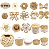 19Pack Natural Burlap Flowers Set, Include Lace Burlap Ribbon Roll, Handmade Rustic Burlap Flowers and Twine Ribbon Lace Trims Tape for Wedding Home Embellishment DIY Craft (Tamaño: 19pack)