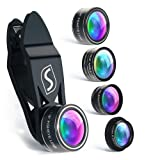 SVIT Phone Camera Lens Kit - 5 in 1 Optical Glass Mobile Attachment Set - 2X Zoom Telephoto, 198 Fisheye, 0.63X Wide Angle, 15X Macro, CPL Filter and Universal Clip Adapter for Cell Phones and Tablets (Color: Black Color Zipper, Tamaño: 4+0)