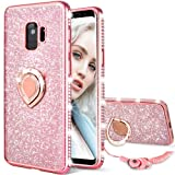 Maxdara Galaxy S9 Case, Galaxy S9 Glitter Sparkle Cute Women Girls Case Bling Shiny Diamond Rhinestone Ring Holder Stand Kickstand TPU Bumper Case Cover for Samsung Galaxy S9 5.8 inches (Rosegold) (Color: Rosegold)