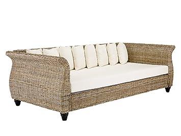 massivum Sofa Lunga 230x75x110 cm Kubu-Rattan grau lackiert