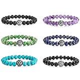 MOWOM 6PCS Multicolor Alloy Bracelet Link Wrist Energy Stone Buddha Mala Bead Lion Head Elastic (Color: Style E: 6PCS a Set)