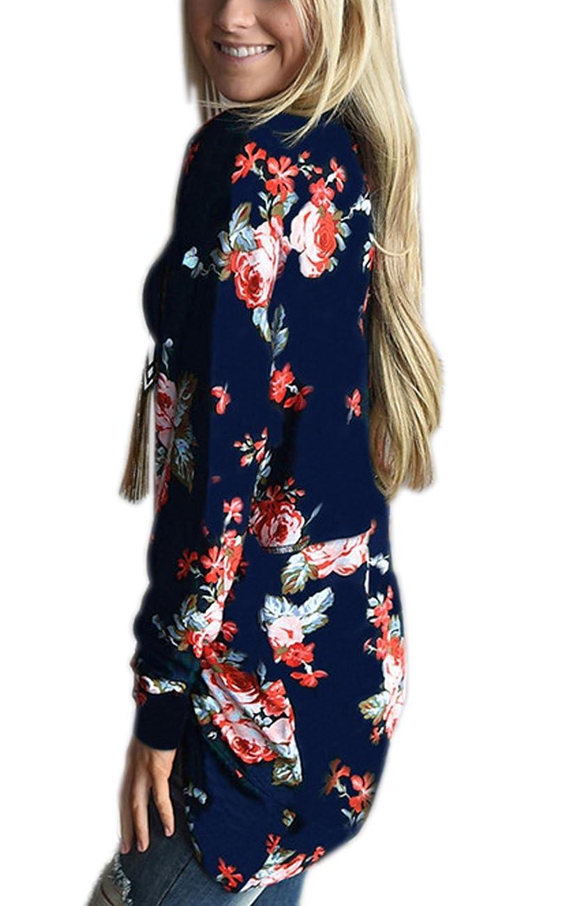 Walant Women Floral Long Sleeve Kimono Boyfriend Cardigans Coat Tops Outwear 0