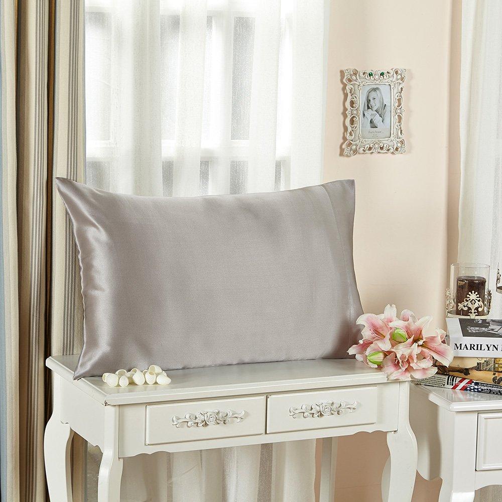 【LilySilk】絹枕カバー 43x63cm シルバーグレー【2枚】 額縁無し/ 封筒式 /ホテル品質 /アレルギーも安心