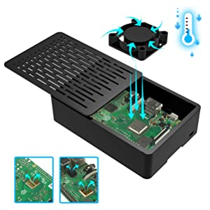 Compatible 3.5 inch Screen Enclosed Case Case with Cooling Fan for Raspberry Pi 3 B 3pcs Heat-Sinks