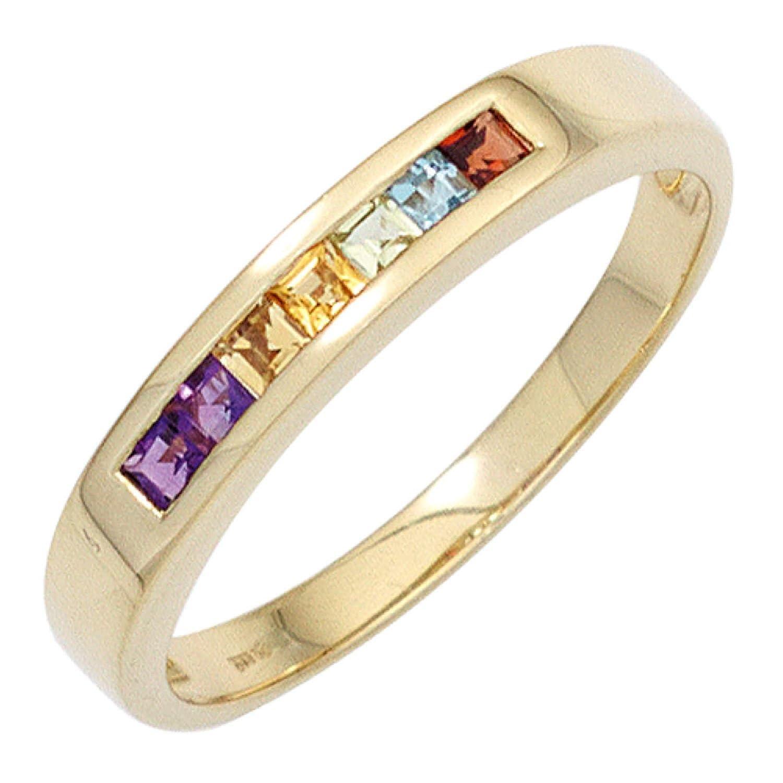 Damen Ring 585 Gelbgold 2 Amethyste 2 Citrine 1 Granat 1 Peridot 1 Blautopas kaufen