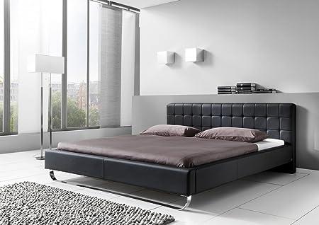 Dreams4Home Polsterbett mit Kunstlederbezug 'Avenue' 160, 180x200 cm, Weiß, Liegefläche:180x200 cm