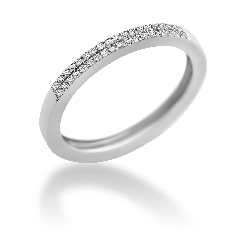 Miore Damen-Ring 9 Karat (375) Weißgold mit 0.12ct Brillanten MP9076R günstig bestellen