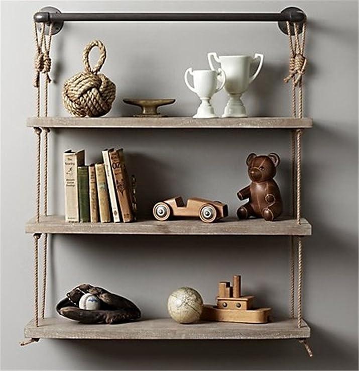 XIXI Stile Industriale Ricorda i Sisal Librerie Solid Wood per gestire la vecchia parete, rack 60 * 25 * 95Cm