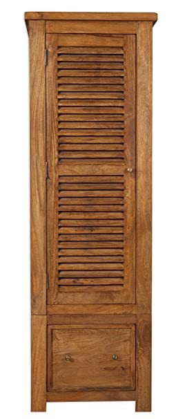 Modasa Living Mango Wood 1 Door 1 Drawer Single Wardrobe / Solid Stone Finish Mango Wood Single Wardrobe / Mango Wood Bedroom Furniture