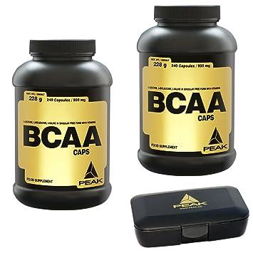 Peak BCAA Caps, 480 Kapseln, 2er Pack (2 x 228g = 456g) + Pillendose