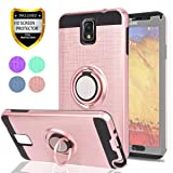 Note 3 Case,Galaxy Note 3 Case with HD Phone Screen Protector,Ymhxcy 360 Degree Rotating Ring & Bracket Dual Layer Resistant Back Cover for Samsung Galaxy Note 3,Note III,N9000,N9005-ZH Rose Gold (Color: ZH-Rose Gold)