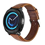 Gear Sport Band Leather, KADES Genuine Leather Replacement Strap Compatible for Samsung Galaxy Watch 42mm/ Garmin VivoActive 3/ Ticwatch 2/ Ticwatch E/Amazfit Bip Smart Watch- Brown (Color: Brown, Tamaño: Brown)